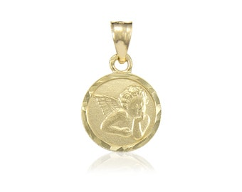 14K Solid Yellow Gold Baby Angel Medal Pendant - Guardian Round Necklace Charm