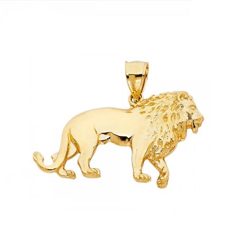 14k or Jaune Diamant Cut Lion Pendentif Charm 3.6 g