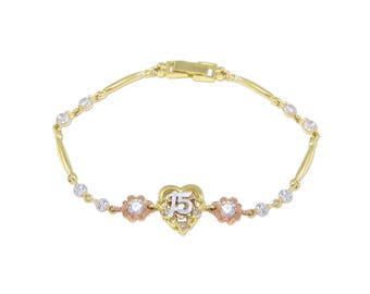 14K Solid Yellow Rose Gold Cubic Zirconia Heart Sweet 15 Bracelet - Flower Quinceanera Anos Birthday