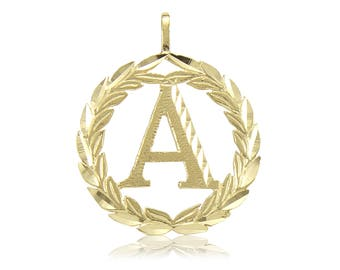 14K Solid Yellow Gold Wreath Initial Letter Pendant - A-Z Any Alphabet Necklace Charm