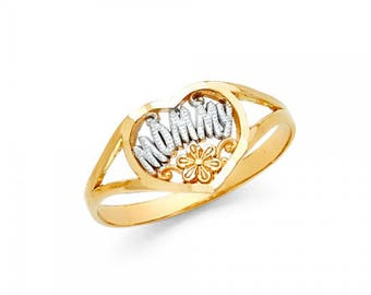 14K Solid Yellow White Gold Heart Mommy Ring - Flower Mom Mother Band