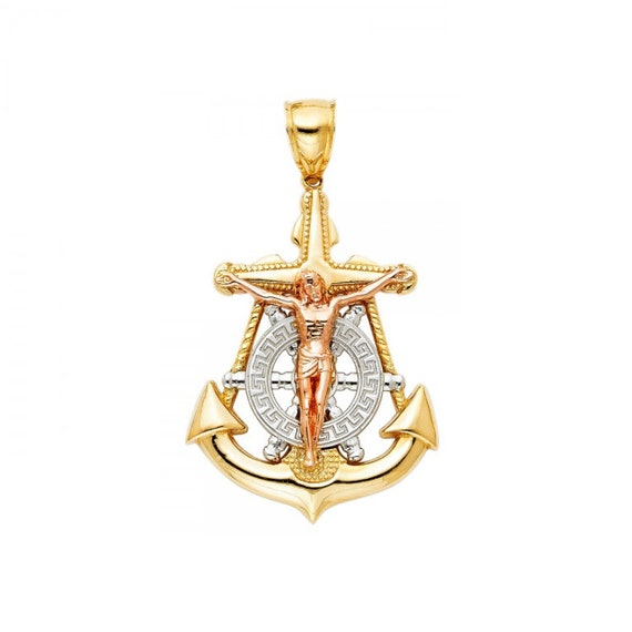 14K Solid White Gold Anchor Rope Pendant Charm for Chain Necklace w// Chain