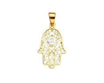 14K Solid Yellow White Gold Filigree Hamsa Hand Evil Eye Pendant - Good Luck Necklace Charm