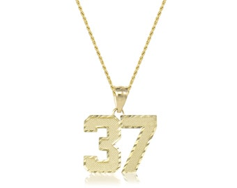 10K Solid Yellow Gold Custom Two Digit Number Pendant Hollow Rope Chain Necklace Set - 00-99 Diamond Cut Charm