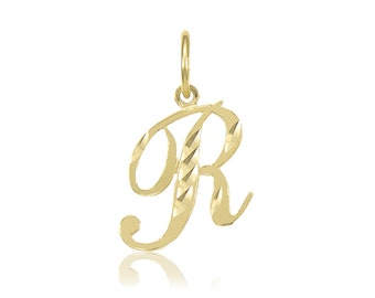 14K Solid Yellow Gold Cursive Initial Letter Pendant - A-Z Any Alphabet Necklace Charm
