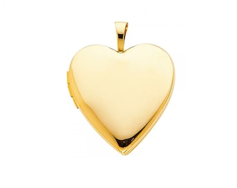 14K Solid Yellow Gold Heart Locket Pendant - Love Photo Necklace Charm