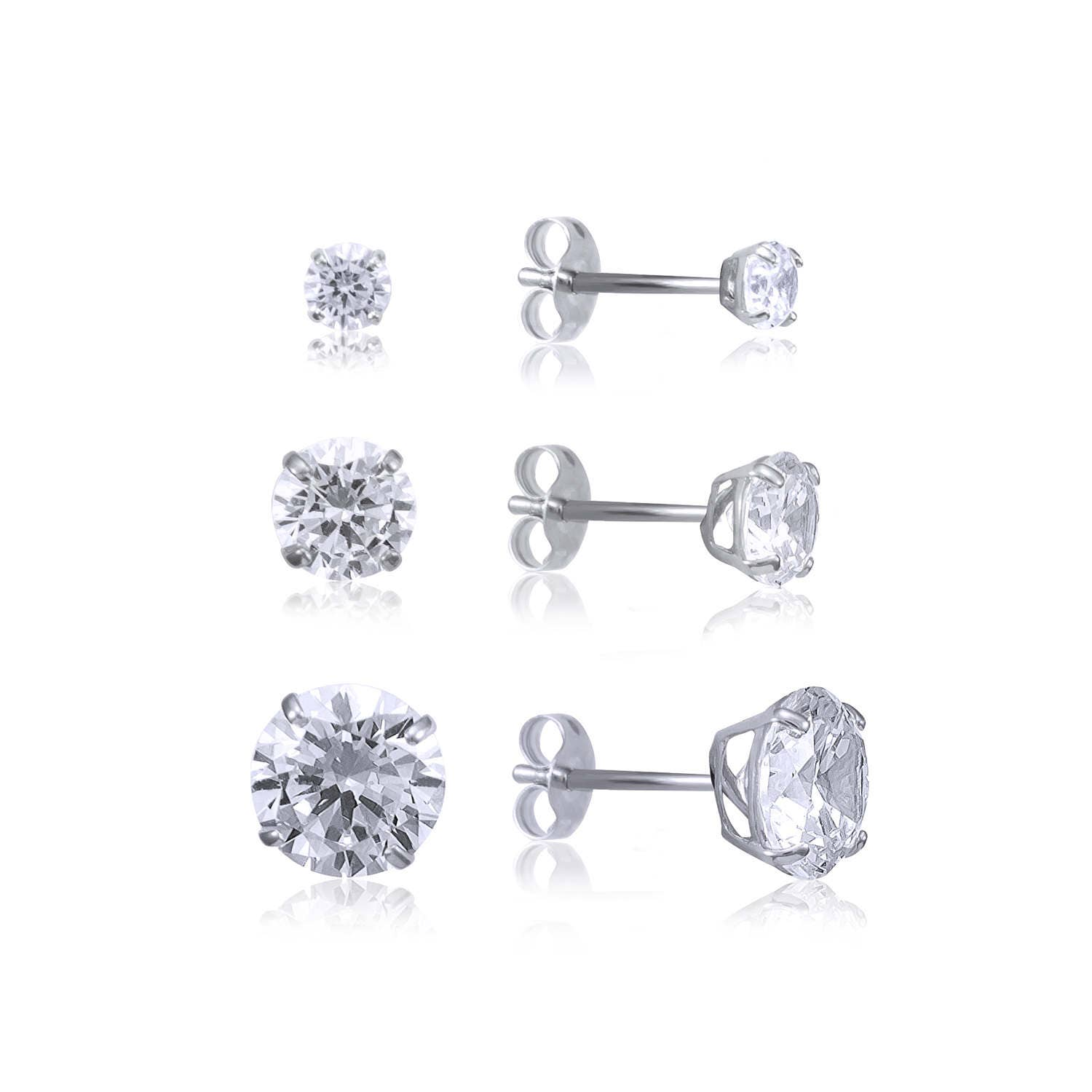 0fc2f947b76 14K Solid White Gold Cubic Zirconia Round Cut Solitaire Stud Earrings  Basket 2.0-7.0mm