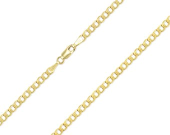 """10K Yellow Gold Hollow Cuban Necklace Chain 2.5mm 16-26"""" - Round Curb Link"""