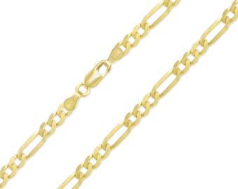 """14K Yellow Gold Hollow Figaro Necklace Chain 5.5mm 18-30"""" - Polished Link"""