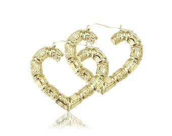 10K Yellow Gold Heart Bamboo Hoop Earrings - Door Knocker