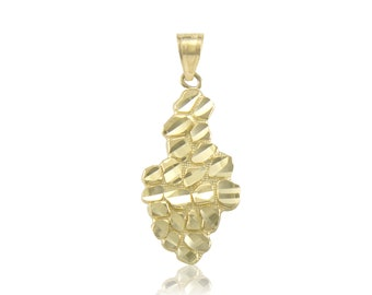 10K Solid Yellow Gold Nugget Pendant - Diamond Cut Polished Necklace Charm