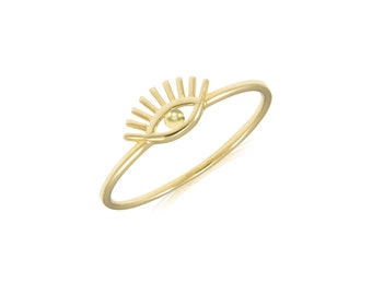 14K Solid Yellow Gold Evil Eye Ring - Good Luck Stackable Finger Knuckle Midi Thumb Band
