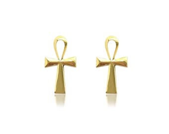 10K Solid Yellow Gold Ankh Cross Stud Earrings - Egyptian Polished Crucifix