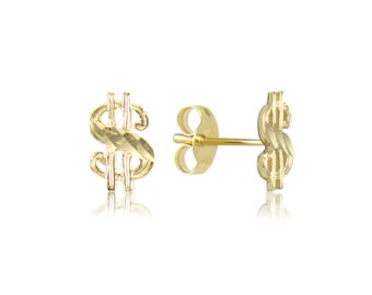14K Solid Yellow Gold Dollar Sign Stud Earrings - Money Diamond Cut