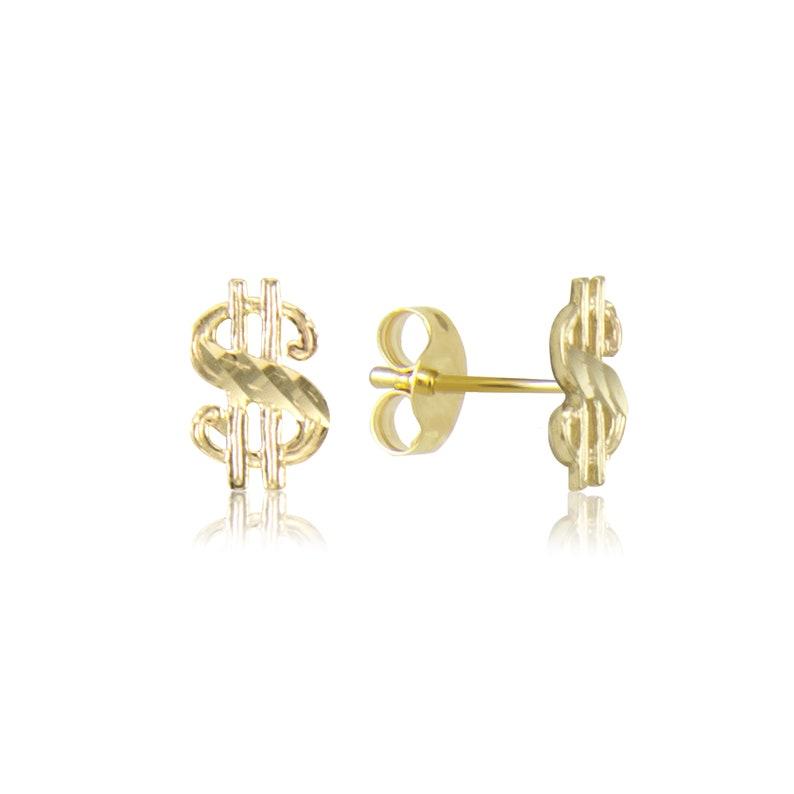 Money Diamond Cut 10K Solid Yellow Gold Dollar Sign Stud Earrings
