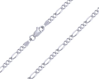 """10K Solid White Gold Figaro Necklace Chain 3.0mm 16-26"""" - Polished Link"""