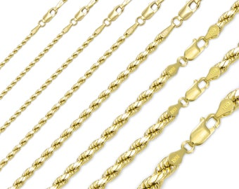 """14K Solid Yellow Gold Diamond Cut Silk Rope Necklace Chain 1.5-4.5mm 16-26"""" - Link"""