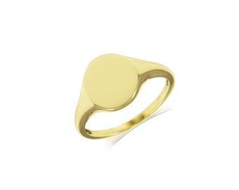 14K Solid Yellow Gold Signet Ring - Stackable Finger Band