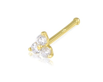 14K Solid Yellow Gold Cubic Zirconia Triangle Nose Stud Ring 20g - Body Piercing Jewelry
