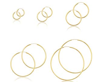 14K Yellow Gold Endless Round Hoop Earrings 2.0mm 15-65mm - Classic Polished Plain Tube