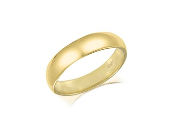 10K Solid Yellow Gold Regular Fit Plain Wedding Band Ring 4.0mm Size 5-13 - Polished