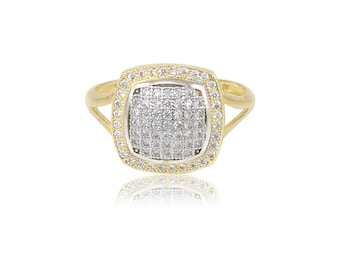 14K Solid Yellow Gold Cubic Zirconia Cluster Square Ring - Polished Finger Band