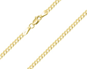 """14K Solid Yellow Gold Cuban Necklace Chain 2.5mm 16-24"""" - Round Curb Link"""