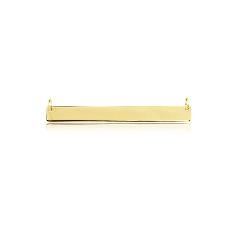 14K Solid Yellow Gold Custom Horizontal Bar Pendant 5.0mm 30-50mm Polished Necklace Charm