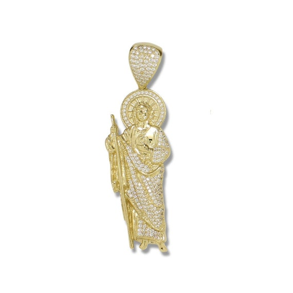 San Judas Thaddeus Necklace Charm 10K Solid Yellow Rose Gold Cubic Zirconia Saint Jude Pendant