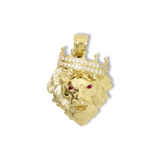 10K Solid Yellow Gold Cubic Zirconia Crown Lion Head Pendant  5e621c5abd