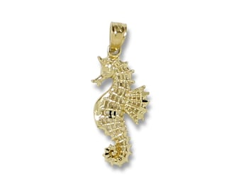 14K Solid Yellow Gold Seahorse Pendant - Sea Polished Necklace Charm