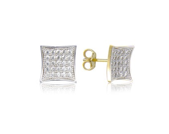 10K Solid Yellow White Gold Cubic Zirconia Kite Square Stud Earrings - Cluster