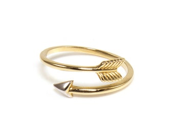 14K Solid Yellow White Gold Arrow Ring Adjustable - Stackable Finger Knuckle Midi Thumb Archery Cupid Love Band