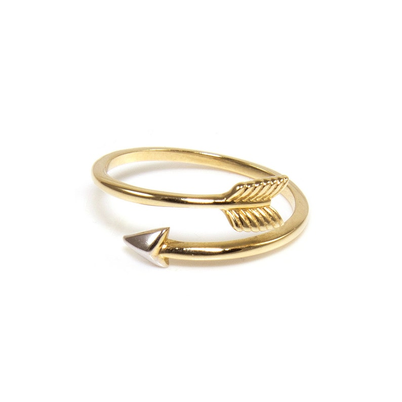 Stackable Finger Knuckle Midi Thumb Archery Cupid Love Band 14K Solid Yellow White Gold Arrow Ring Adjustable