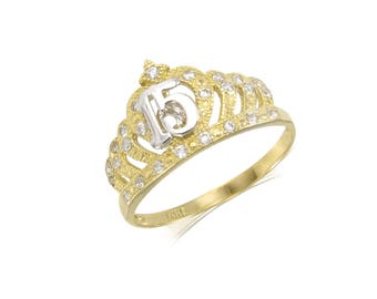 14K Solid Yellow White Gold Cubic Zirconia Crown Sweet 15 Ring - Quinceanera Anos Birthday Band