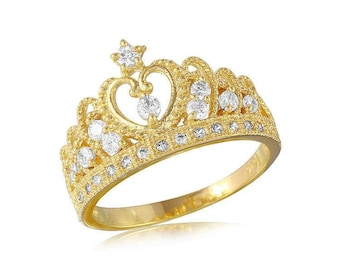 14K Solid Yellow Gold Cubic Zirconia Crown Ring - Royal Band