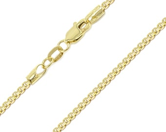 """10K Yellow Gold Hollow Box Necklace Chain 2.0mm 18-30"""" - Round Polished Link"""