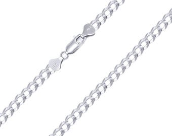 """10K Solid White Gold Cuban Necklace Chain 4.0mm 18-30"""" - Round Curb Link"""