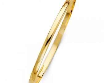 "14K Solid Yellow Gold Bangle Bracelet 4.0mm 7.5"" - Classic Polished Plain"