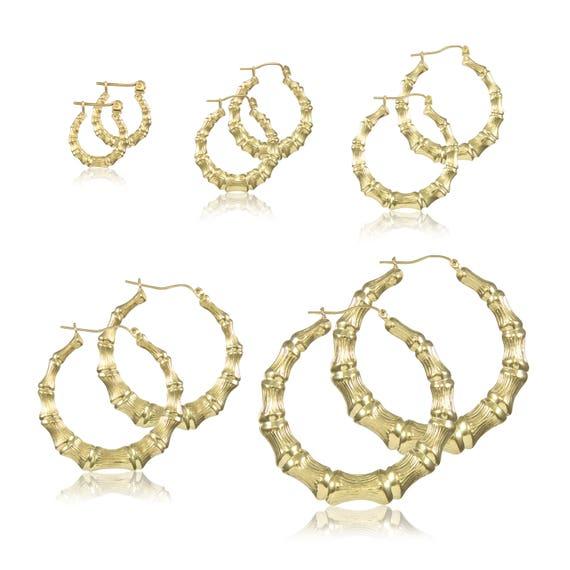 0a5691daa79cd 10K Yellow Gold Round Bamboo Hoop Earrings - Door Knocker