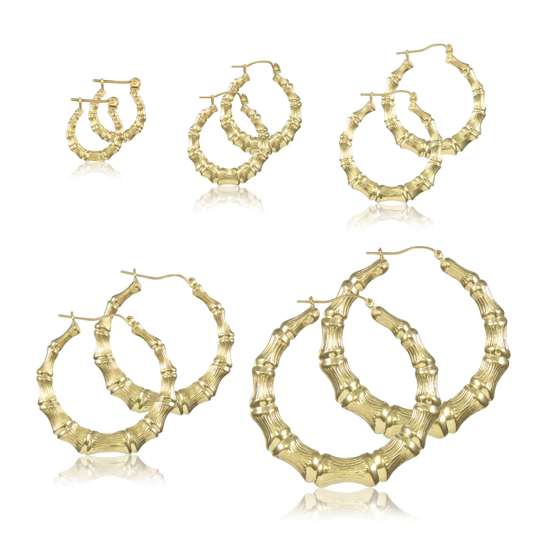 10k Yellow Gold Round Bamboo Hoop Earrings Door Knocker