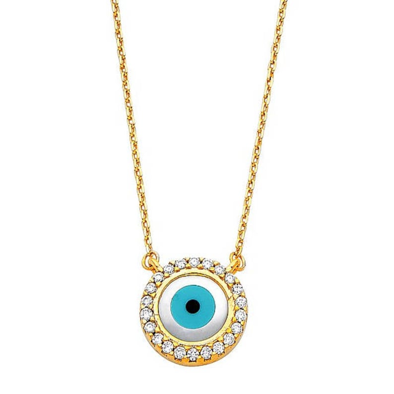 14K Solid Yellow Gold Cubic Zirconia Evil Eye Pendant Rolo Chain Necklace Set Blue Good Luck Charm