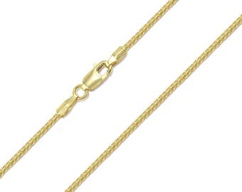 """10K Solid Yellow Gold Franco Necklace Chain 1.2mm 16-30"""" - Link"""