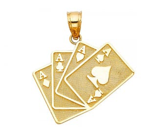14K Solid Yellow Gold 4 Aces Poker Cards Pendant - Four Playing Necklace Charm