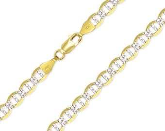 """10K Solid Yellow Gold White Pave Mariner Necklace Chain 6.0mm 18-30"""" - Diamond Cut Anchor Link"""