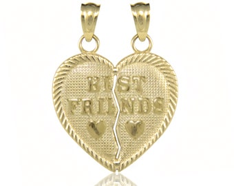 14K Solid Yellow Gold Best Friends Half Heart Pendant - Necklace Charm