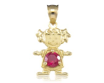 14K Solid Yellow Gold Cubic Zirconia Birthstone Girl Pendant - Any Color Necklace Charm