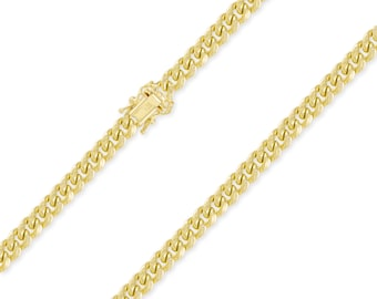 """10K Yellow Gold Hollow Miami Cuban Necklace Chain 7.0mm 22-30"""" - Round Curb Link"""