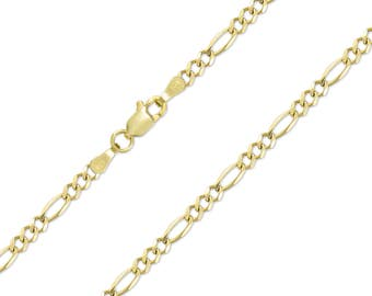 """14K Solid Yellow Gold Figaro Necklace Chain 3.0mm 16-26"""" - Polished Link"""