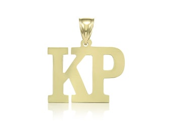 10K Solid Yellow Gold Custom Two Initial Letter Pendant - A-Z Any Alphabet Necklace Charm
